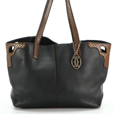 Cartier Shopper Tote Bag in Black Pebble Grain Leather with Snakeskin Trim