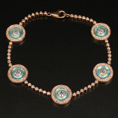 14K Rose Gold 1.43 CTW Diamond, Sapphire and Inlay Evil Eye Bracelet
