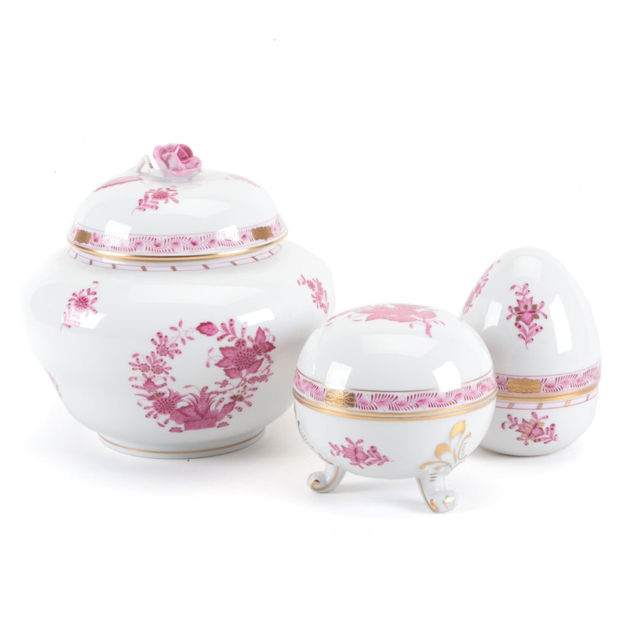 """Herend """"Chinese Bouquet Raspberry"""" Lidded Ginger Jar and Other Lidded Vessels"""