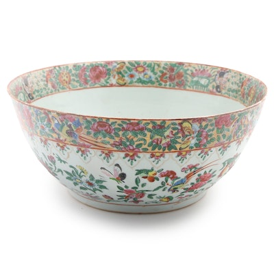 Chinese Rose Canton Porcelain Punch Bowl, 19th Century