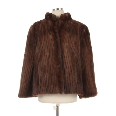 Corded Demi Buff Mink Fur Jacket with Suede Inserts and Standing Collar