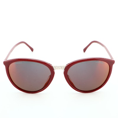 Chanel 5382-A Modified Cat Eye Dark Red Frame Sunglasses with Smoke Lens