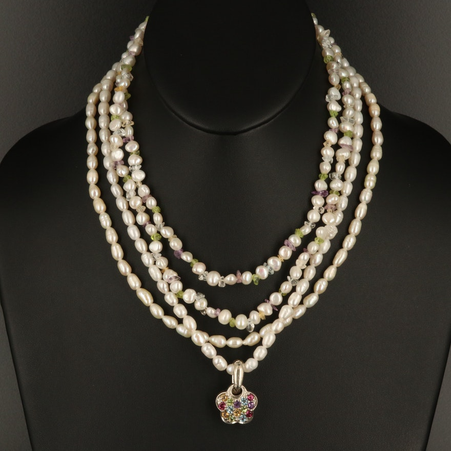 Pearl Necklace Selection with Mixed Gemstone Sterling Enhancer Pendant