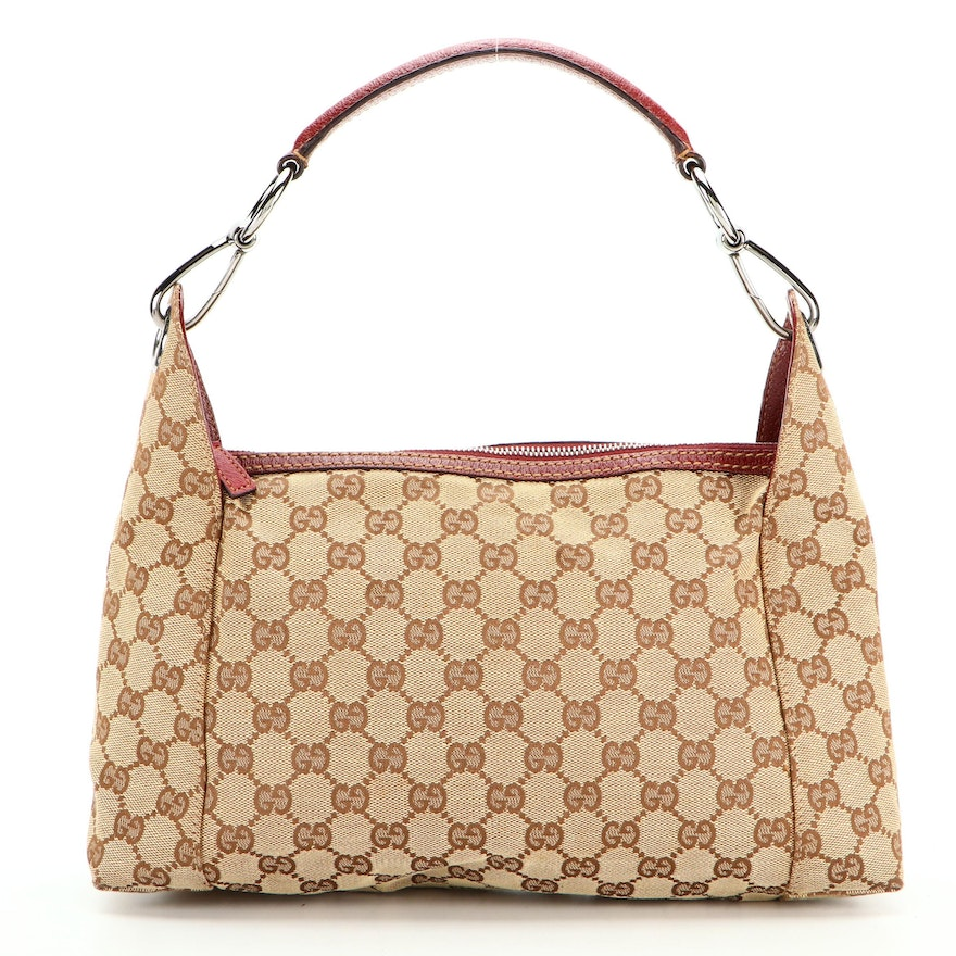 Gucci GG Canvas and Red Leather Trim Shoulder Bag