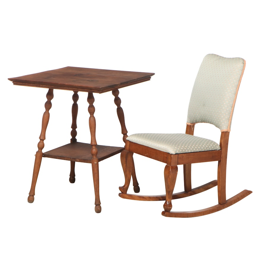 Gunlocke Colonial Revival Maple Rocking Chair with Oak End Table, Early 20th C.