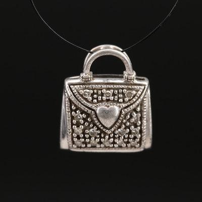 Sterling Diamond Purse Charm