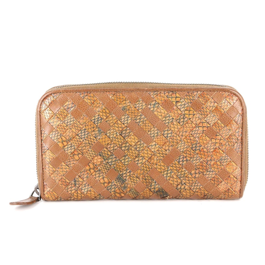 Bottega Veneta Continental Zipper Wallet in Intrecciato Snakeskin and Leather