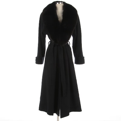 Dumas Felted Wool Blend Wrap Coat with Faux Fur Collar