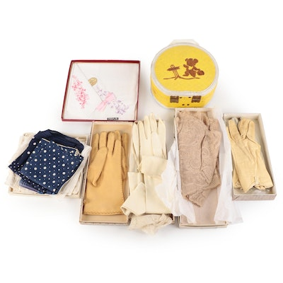 Quilted Vinyl Doll Suitcase, Embroidered Handkerchiefs, Leather Gloves and More
