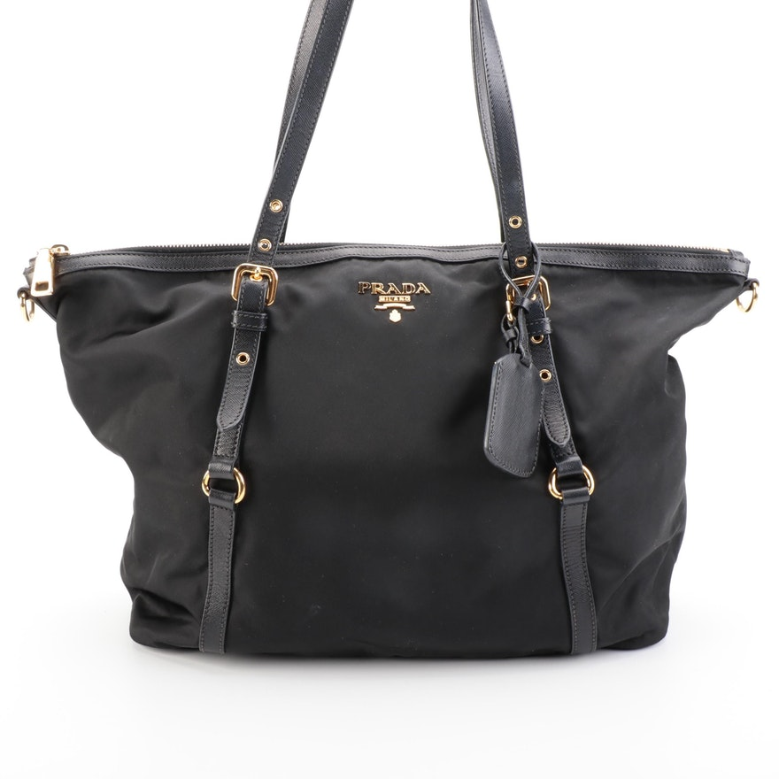 Prada Shopper Tote Bag in Black Tessuto  Nylon and Saffiano Leather