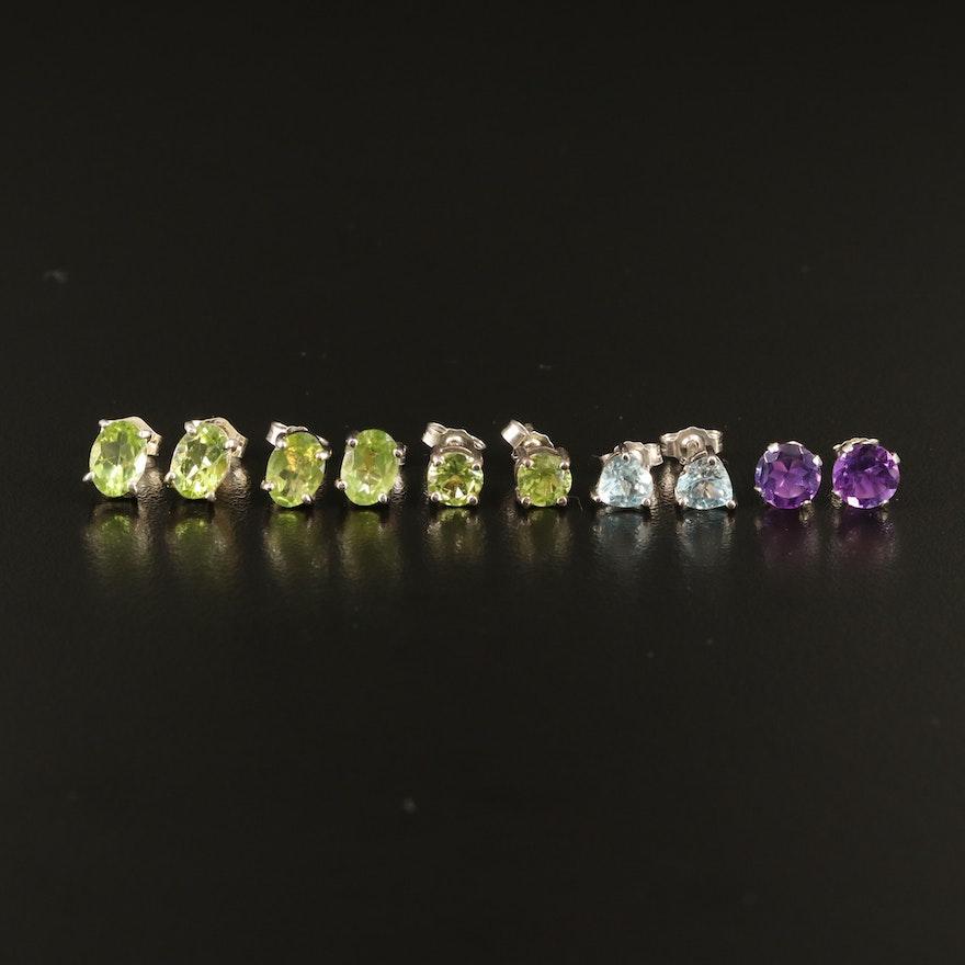 Sterling Gemstone Stud Earrings with Amethyst, Peridot and Sky Blue Topaz