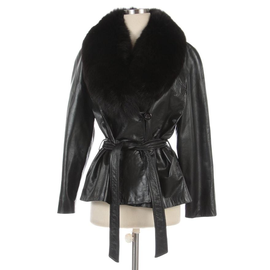 Vericci Black Leather Jacket with Tie Belt and Fox Fur Shawl Collar