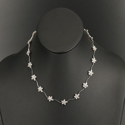 14K 0.94 CTW Diamond Flower Station Necklace with Scalloped Knife-Edge Links