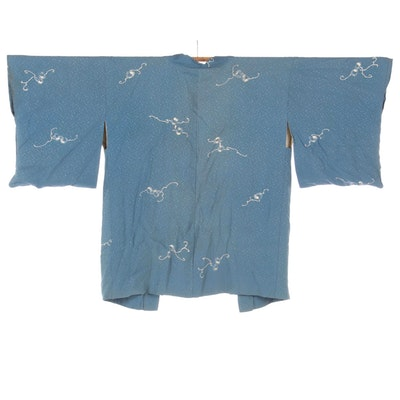 Blue Dotted Silk Haori with Yuzen Dyed Abstract Motifs