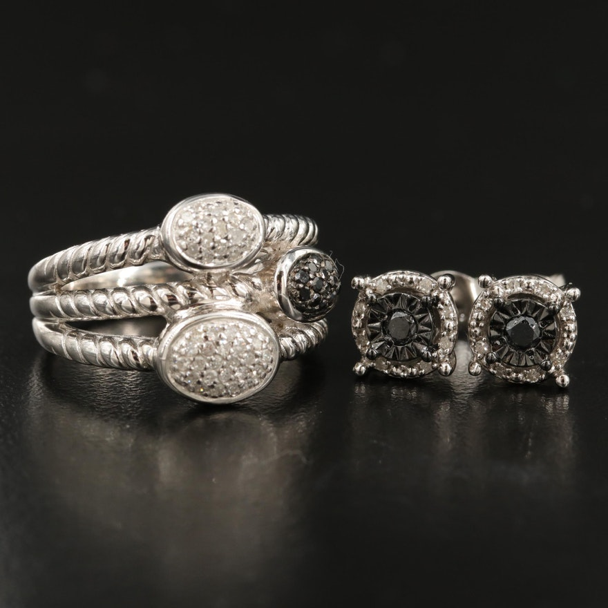 Sterling Diamond Halo Earrings and Ring with Pavé Accents