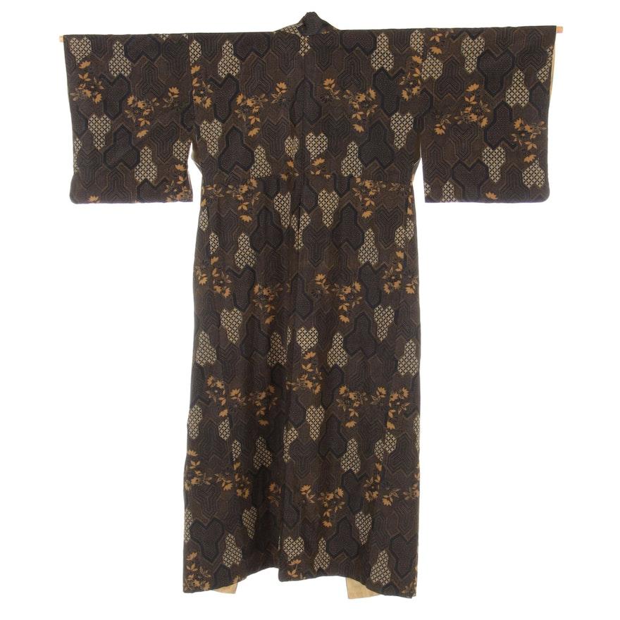 Floral Bishamon Kikko Patterned Komon Kimono