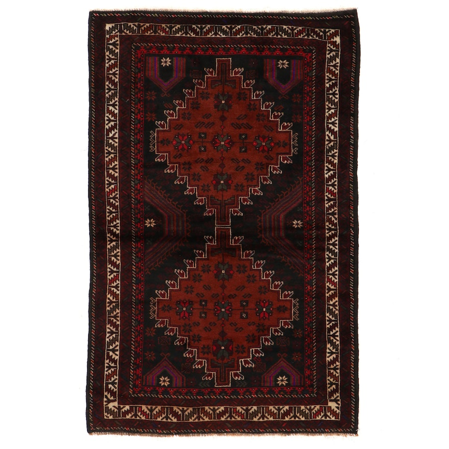 3'9 x 5'11 Hand-Knotted Afghan Baluch Area Rug