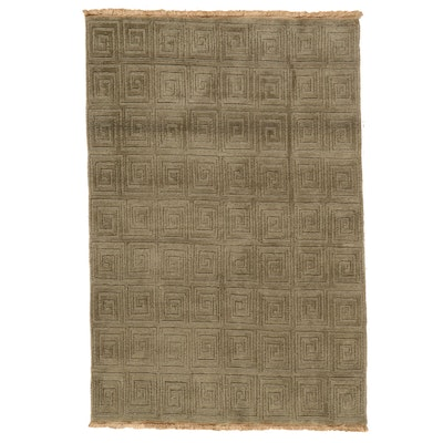 4'1 x 6'1 Hand-Knotted Indian Modern Style Area Rug