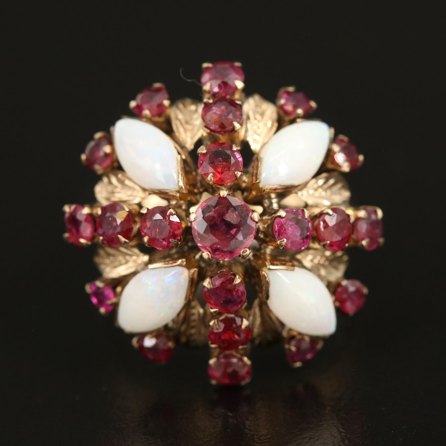 10K Ruby and Opal Ring with Leaf Accents