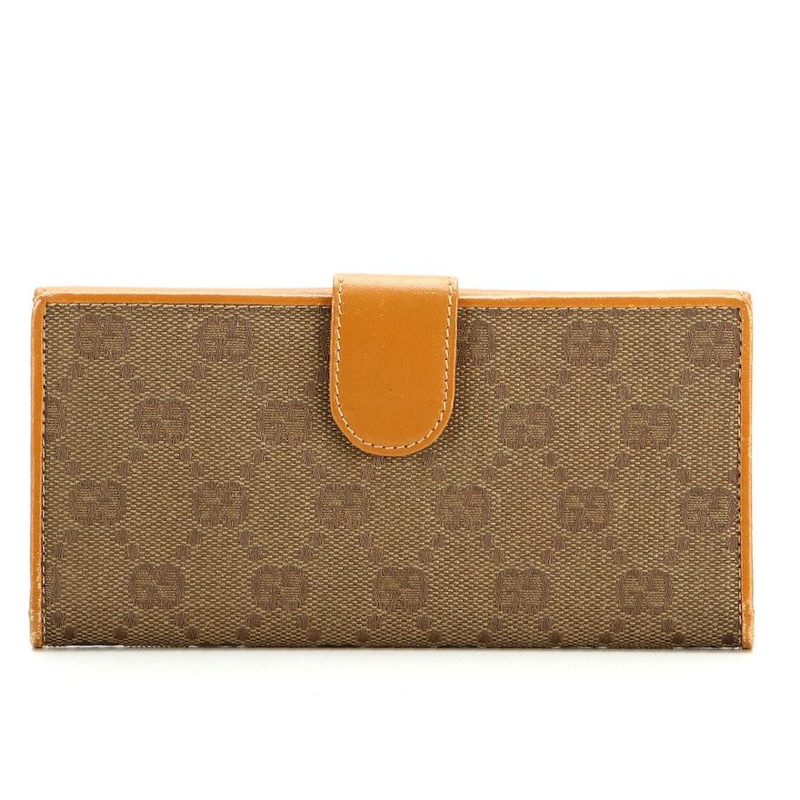 Gucci Continental Wallet in GG Canvas with Leather