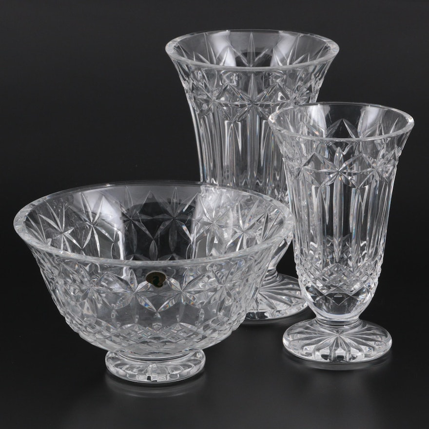 """Waterford Crystal """"Balmoral"""" Flower Vases and Bowl"""