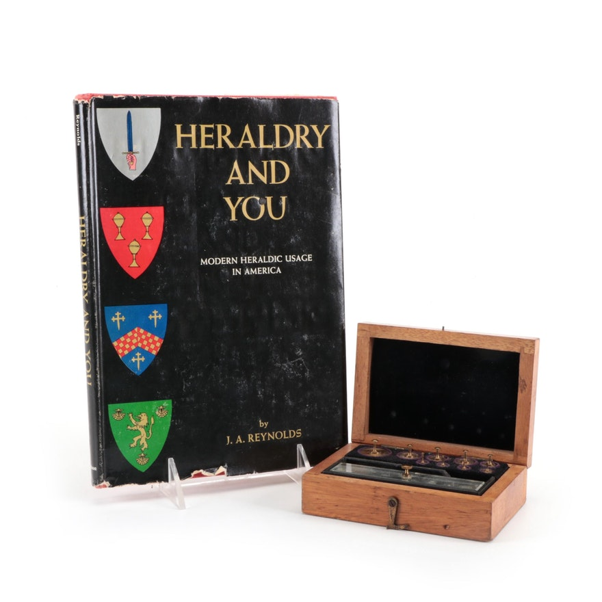 """""""Heraldry and You"""" by J. A. Reynolds and Weight Set, Mid-20th Century"""