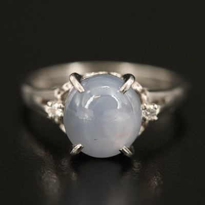 Platinum 3.90 CT Star Sapphire and Diamond Ring