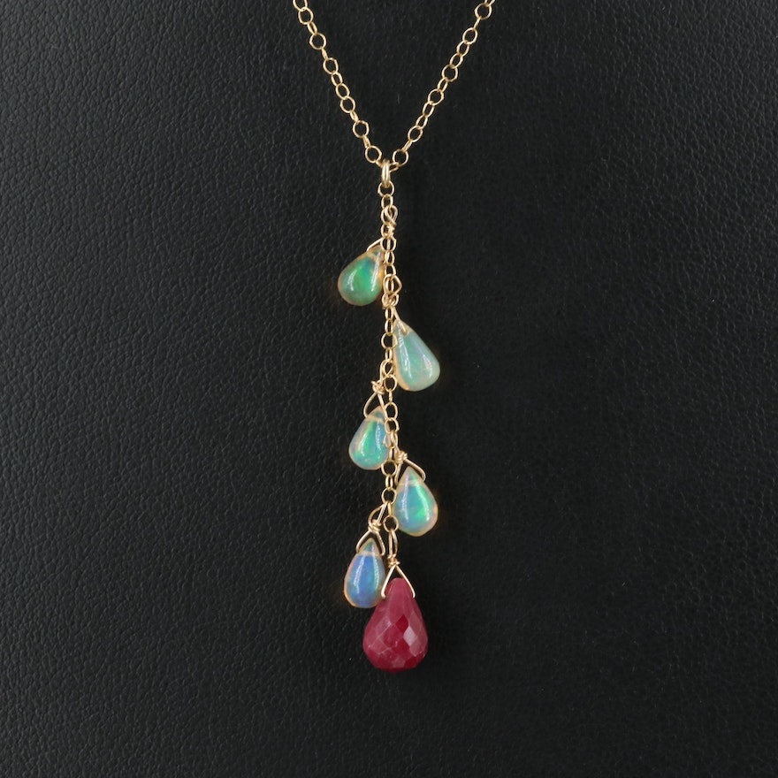 14K Ruby and Opal Necklace