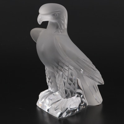 """Lalique """"Liberty Eagle"""" Clear and Frosted Crystal Figurine"""