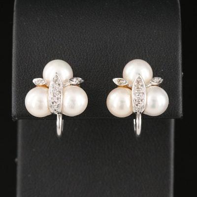 14K Pearl and Diamond Cluster Earrings
