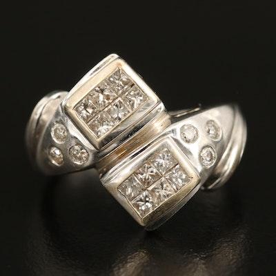 14K 0.78 CTW Diamond Bypass Ring