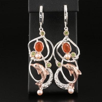 Sterling Carnelian, Pearl, Peridot and Gemstone Dolphin Earrings