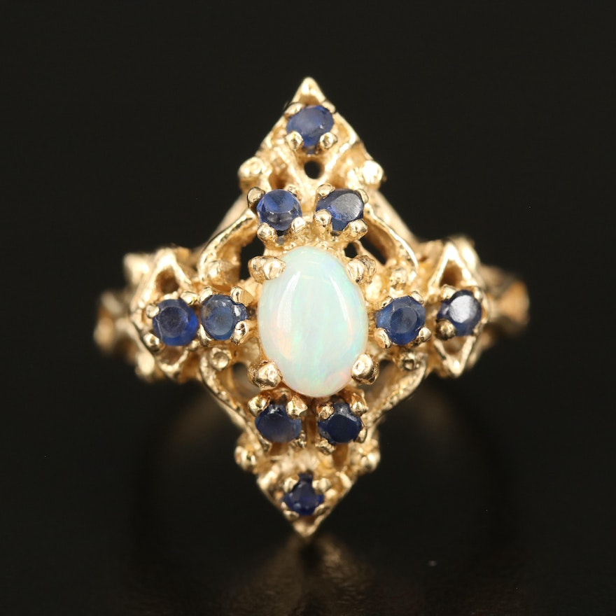 14K Opal and Sapphire Openwork Ring