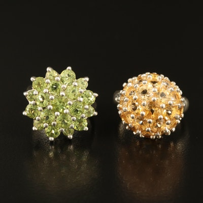 Sterling Peridot and Citrine Cluster Rings