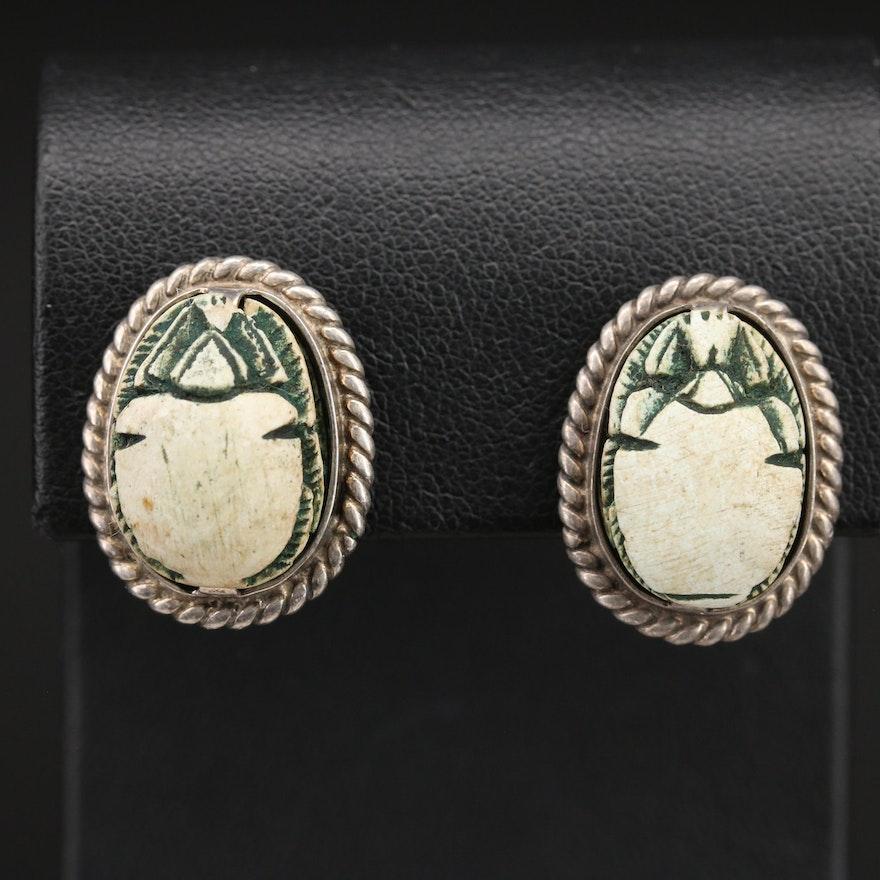 Sterling Faience Scarab Earrings