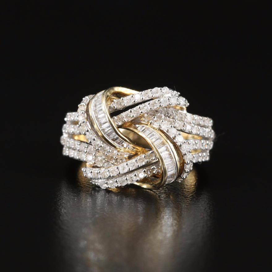 14K 0.96 CTW Diamond Knot Ring