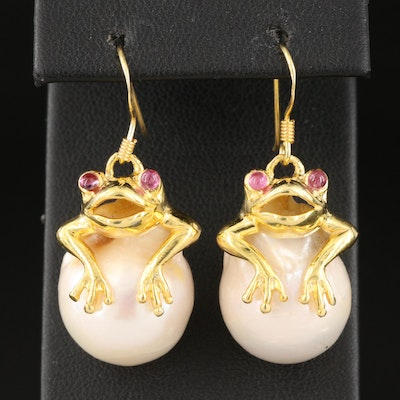 Sterling Silver, Ruby and Pearl Frog Drop Earrings