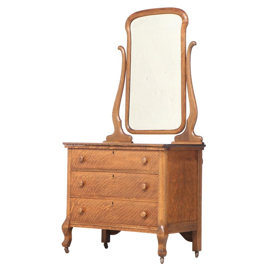 American Quartersawn Oak Three-Drawer Dresser, Early 20th Century