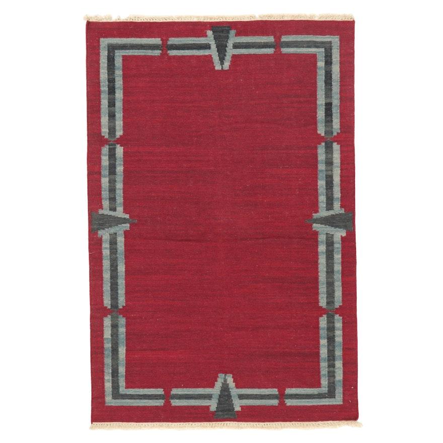4' x 6'2 Handwoven Indian Dhurrie Area Rug