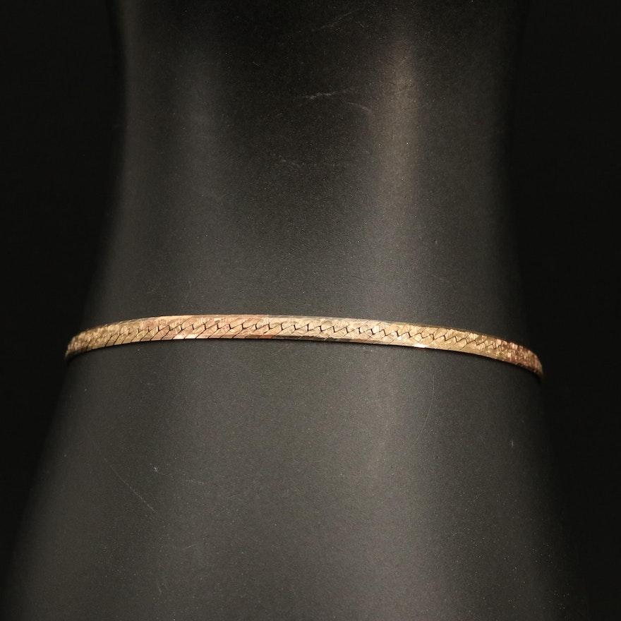 14K Two-Tone Herringbone Chain Reversible Bracelet