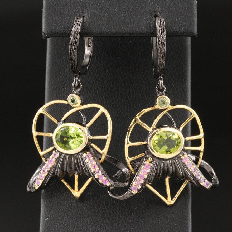 Sterling Silver, Pink Sapphire and Peridot Stylized Heart Drop Earrings