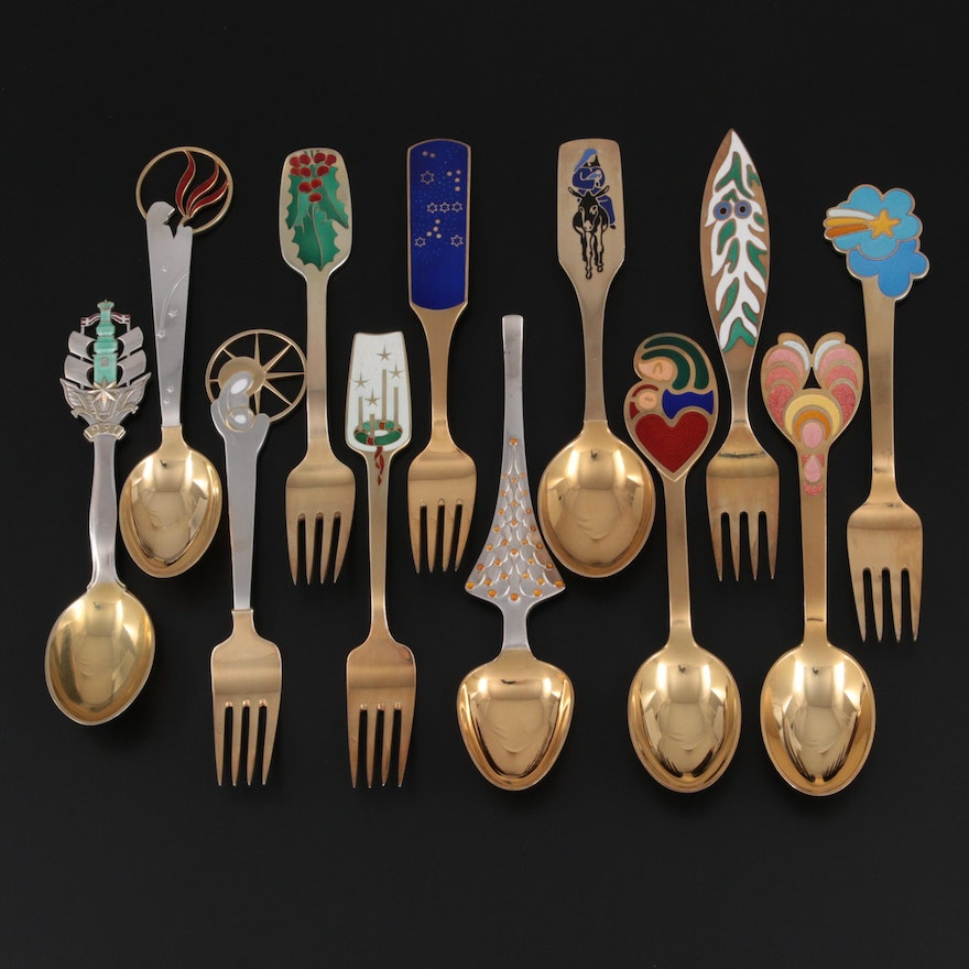 A. Michelsen Enameled Danish Sterling Silver Annual Holiday Spoons