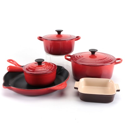 Le Creuset Enameled Cast Iron Dutch Ovens, Skillet, and Sauce Pan with Baker