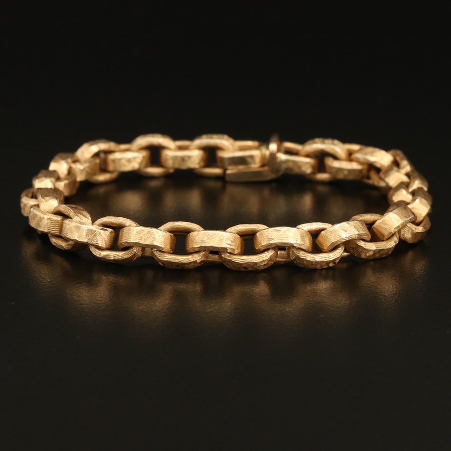 14K Textured Rolo Chain Bracelet