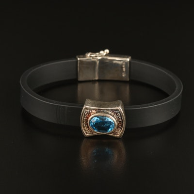 Black Rubber Bracelet Accented with Sterling Findings and Swiss Blue Topaz