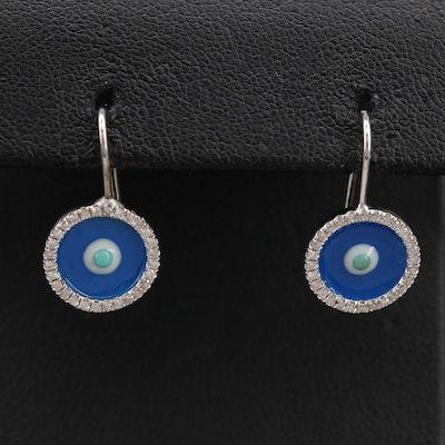 14K Diamond and Enamel Evil Eye Earrings