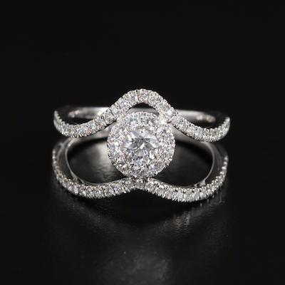 14K 0.53 CTW Diamond Cluster Double Chevron Ring