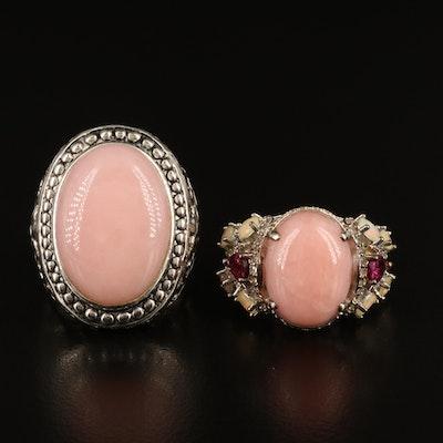 Sterling Gemstone Rings Including Rhodonite, Garnet and Opal