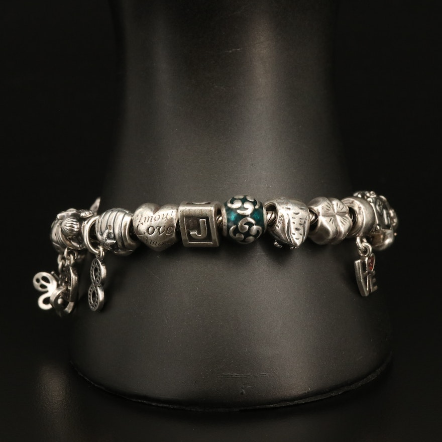 Pandora Sterling Charm Bracelet with Heart and Infinity Charms