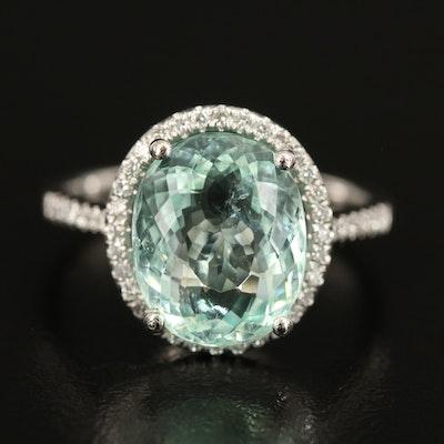 Platinum 4.32 CT Paraiba Tourmaline and Diamond Halo Ring with GIA Report